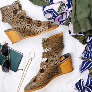Dolce Vita Olive Leather Laser Cut Lace Up Wedges
